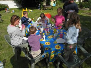 We have pottery painting each week in the garden or in the barn