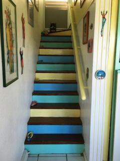 Stairs to the master suite.
