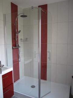 Salle de bains au rez de chaussée attenant à une chambre