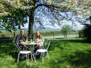 All fresco dining on the lawn under the shady chestnut tree