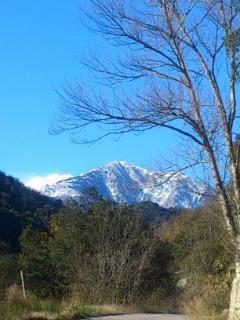 Catch a glimpse of the Mount Canigou, the sacred mountain of the Catalans, from Casa Sola's road