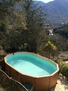 The upper pool on the top terrace with views across the valley