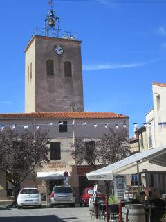 The town square with church and restaurant
