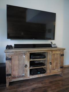 60' led tv,WI-Fi,HD cable,blu-ray,x-box 360,70+ dvd's in cabinet plus a few x-box games