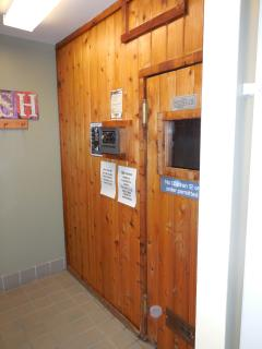 sauna located in clubhouse,open 8am-5pm.