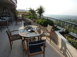 breakfast, lunch and dinner on the terrace with beautiful views of the mediterrenean