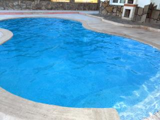 Private swimming pool with bbq