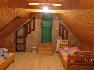 green room,4 beds,mini bar and shared bathroom