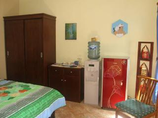 The room with refrigerator and water dispenser and a floor lamp and more.