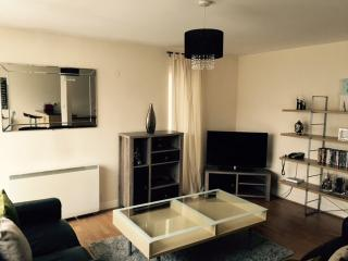 Comfy and spacious lounge with leather sofas and 40 inc LED TV with built in DVD player