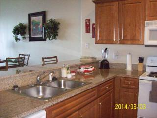 Large kitchen with granite counter top