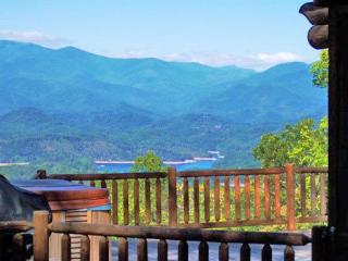 Big Timber Lodge - Unforgettable View of the Mountains and Fontana Lake from this Upscale Cabin with Outdoor Fireplace, Hot Tub, and Wi-Fi, Almond
