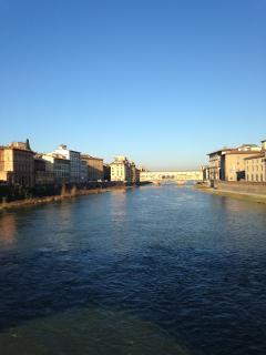 Ponte Vecchio and the Arno River in a sunny winter morning