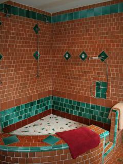 Chambre Verte B&B room en suite large mosaic bathroom with shower