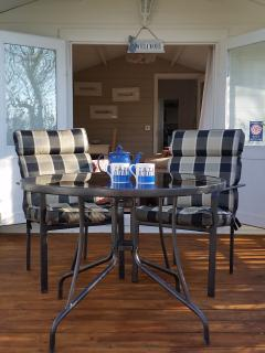 Decking with comfortable outside seating and table