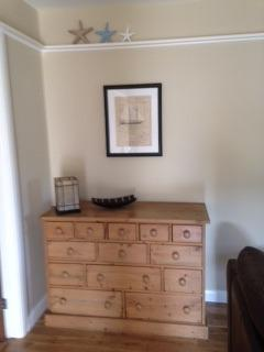 Thirteen drawer chest in the lounge houses jigsaws, books and DVD's