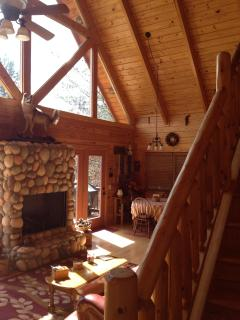 Great room with fieldstone fireplace