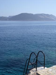 Swimming platform and view of the Greek Island of Meis. Great for snorkeling!