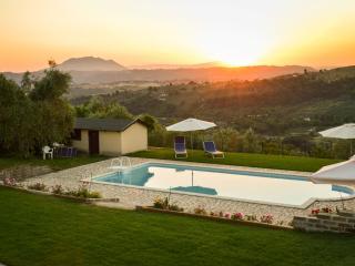 The swimmingpool at sunset