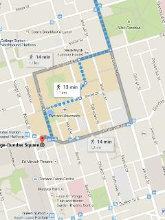 13 minutes walk to the centre of Toronto, Dundas Square. Walk everywhere!