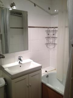 Bathroom with high powered shower over bath.