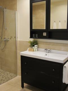 Bathroom with walk-in shower - Gite Corbieres