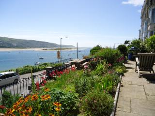 Garden terrace with seaward view