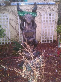 Meet Gargamel, the 800 lb bronzed statue that overlooks front yard, notice his Irish roots