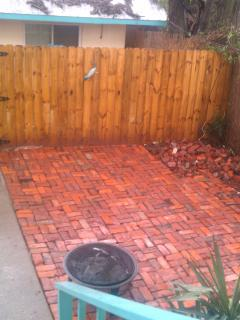 This is our backyard patio, recycled from the fireplaces in the house. Perfect for entertaining