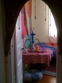 Gypsy room replete with alot of color and vibrancy. Wait until you see the chandelier!