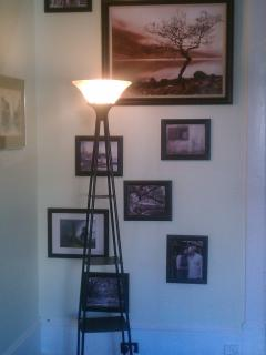 This wall of art is of pictures all in black and white or sepia that we either took or liked.