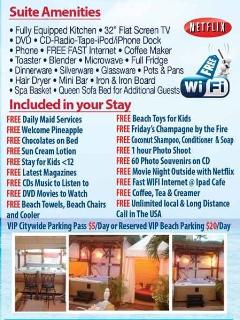 list of Amenities & FREEbies Included in your Stay