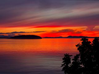Orcas Island: Sunsets from Intense to sublime.  The light show lasts for hours.