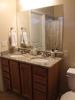 Master bathroom has double sinks