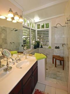 Large walk in marble garden style showers