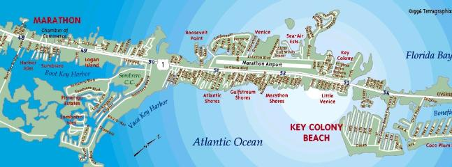 Key Colony Beach Island relative to Marathon area, Sombrero Beach, Vaca Cut boating/bridge to Gulf!