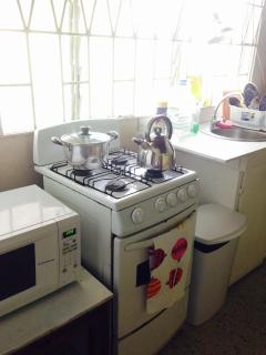 You are welcome to share the fully-equipped kitchenette with microwave, oven, toaster, utensils.