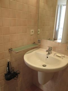 sink corner with hair dryer
