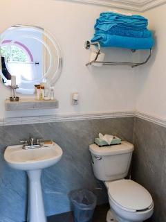 Colourful, luxury towels as well as toiletaries are provided for this and all other bathrooms.