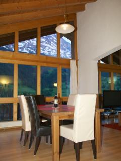 The Eiger from the Attic's dinning table at dusk