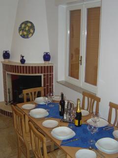 Dining kitchen with log burner