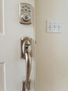 This is the door lock; we will provide you with a password a day prior to your arrival.