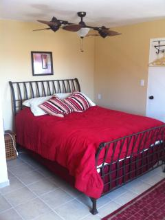 Optional guest suite includes queen bed, queen airbed, bath, living area, kitchenette, patio/balcony
