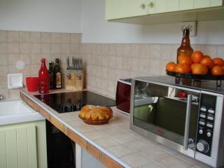 Kitchenette équipée, plaque vitro, micro ondes, frigo, lave linge