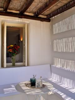 Relax under the wooden pergola