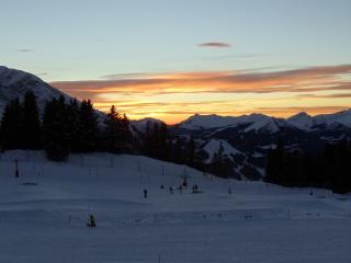 Sunset view from the balcony, looking over Morzine