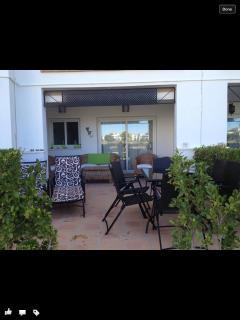 Straight on to the EXTENDED terrace with matching furniture including quality loungers