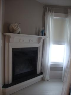 Suite two gas fireplace.