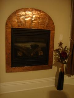 Suite one gas fireplace.