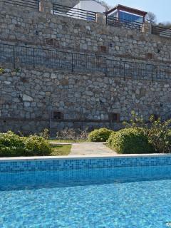 Actual villa above pool